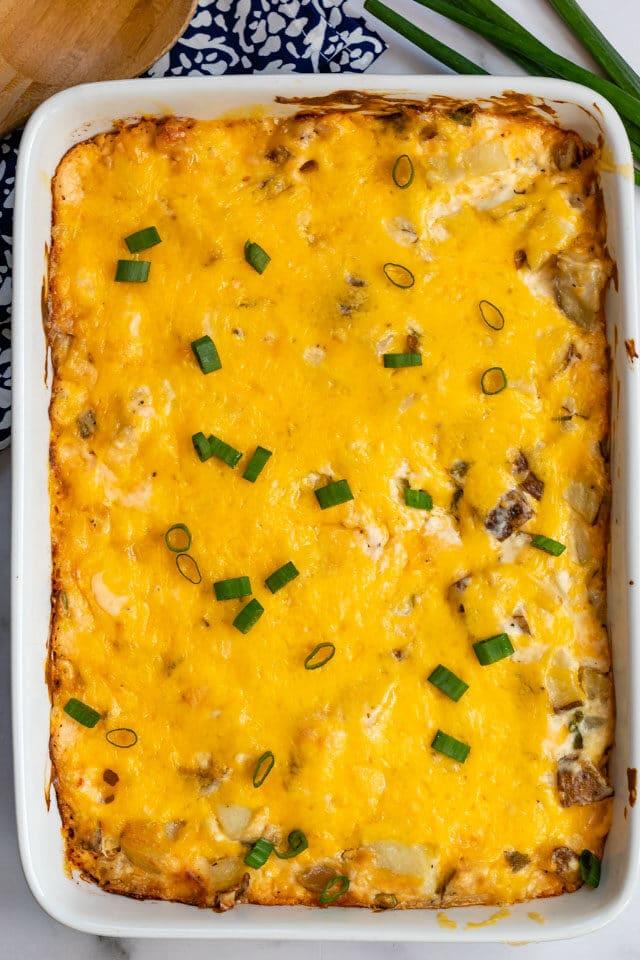 overhead shot of cheesy potatoes