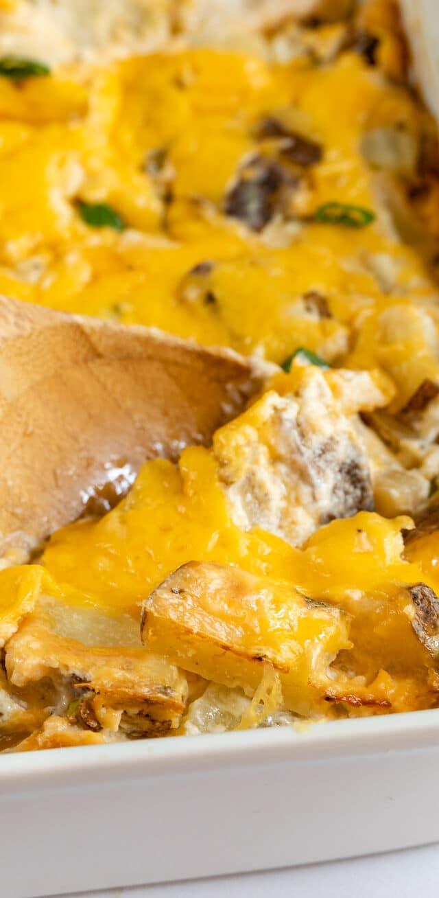 cheesy potatoes on spoon