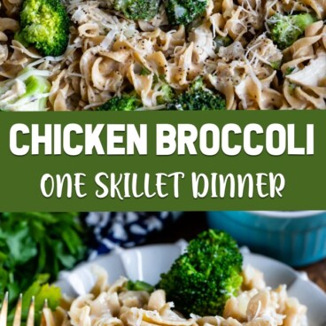 collage of chicken broccoli skillet photos