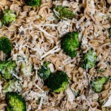 overhead shot of chicken broccoli skillet in pan