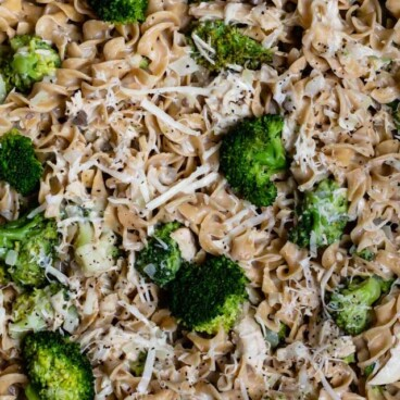 overhead shot of chicken broccoli skillet in pan