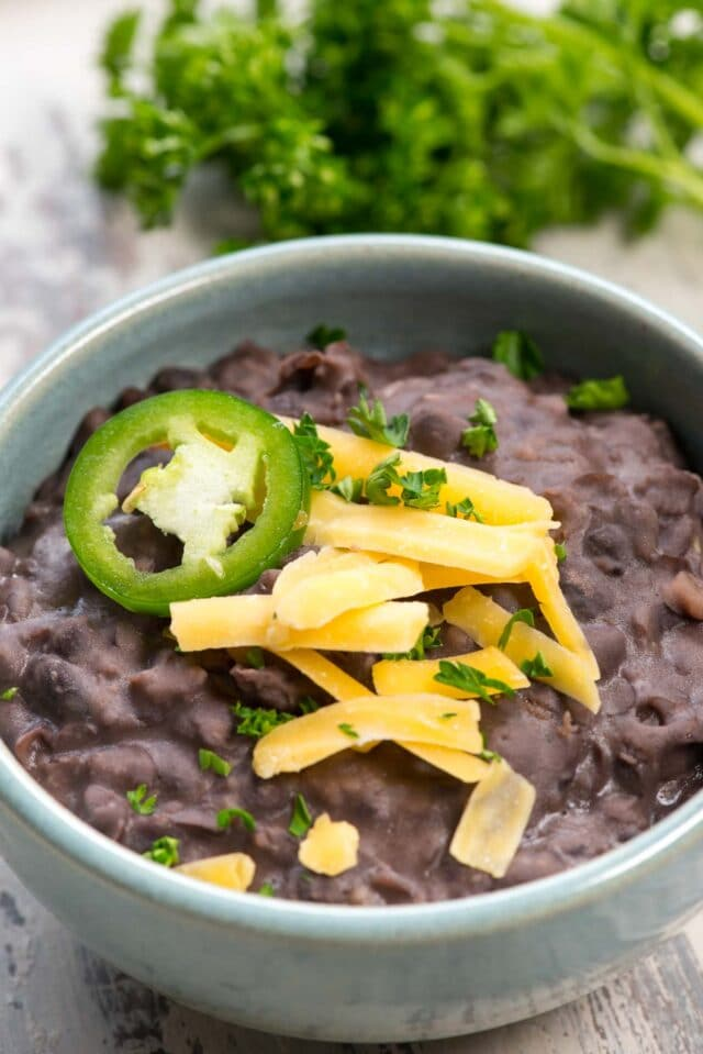 refried beans in blue bowl