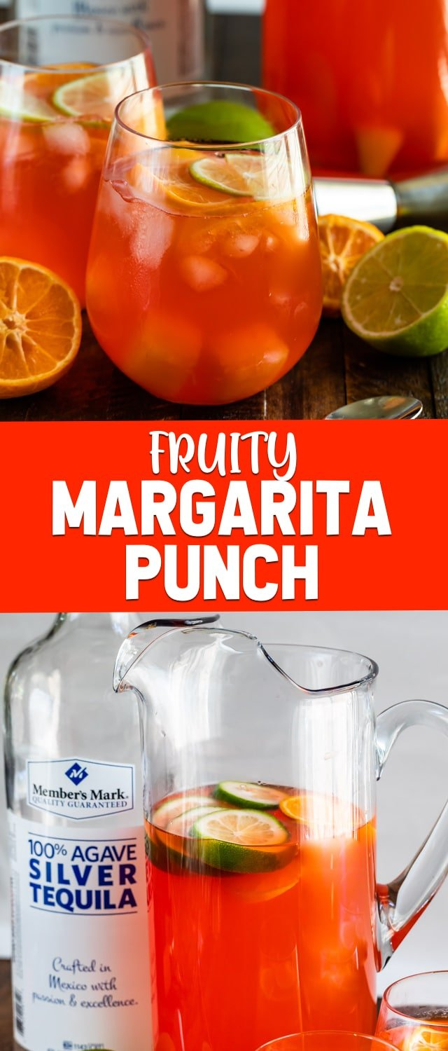 collage of fruity margarita punch photos