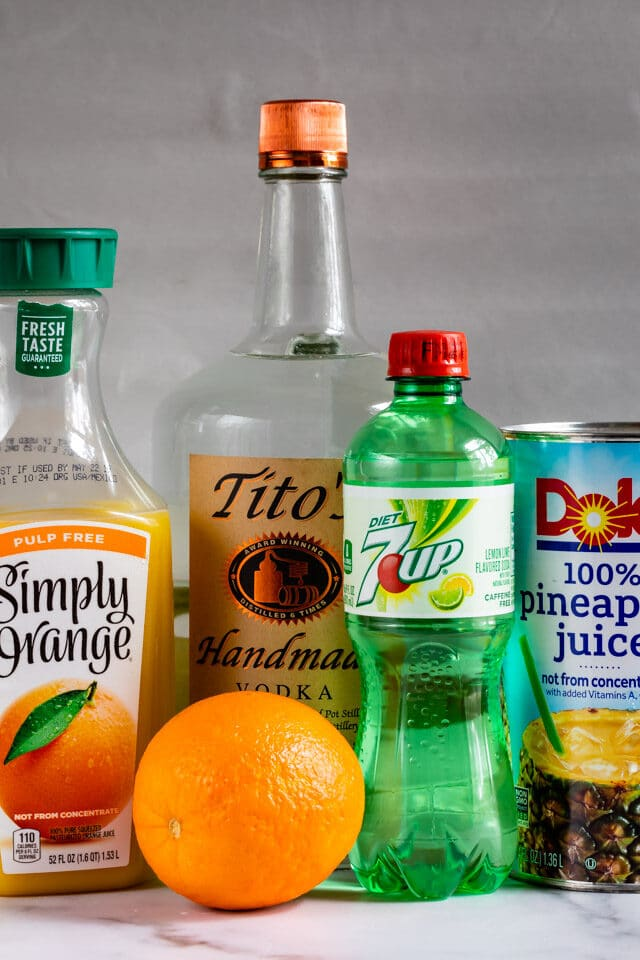 Ingredients to make Orange Vodka Party Punch