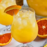 orange vodka party punch in glass