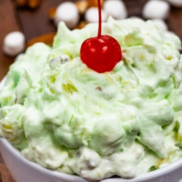 Watergate fluff salad in white bowl
