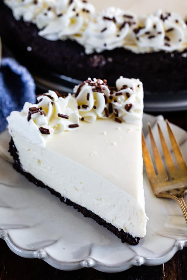 slice of no bake cheesecake on white plate