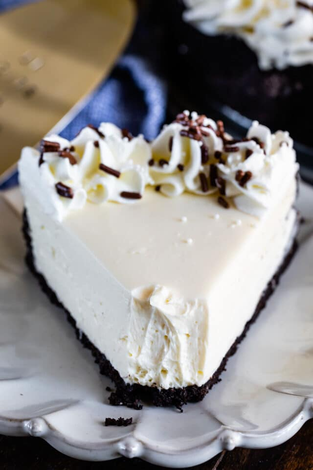 slice of no bake cheesecake with bite missing