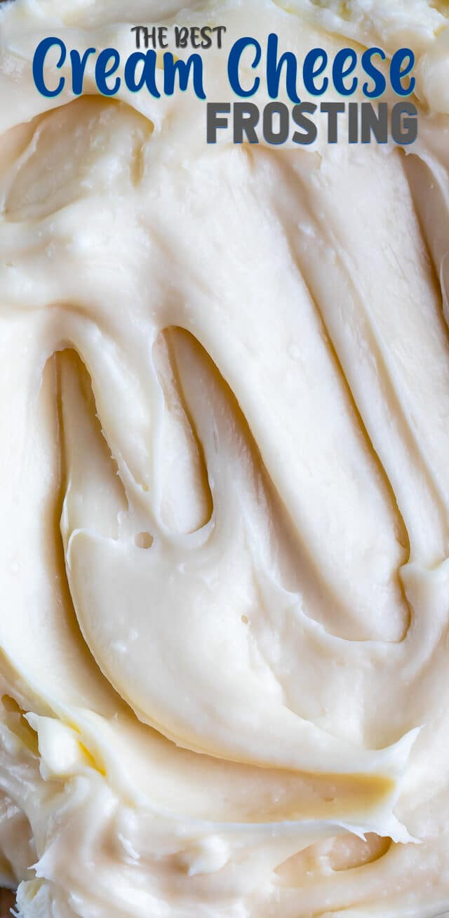 cream cheese frosting overhead shot