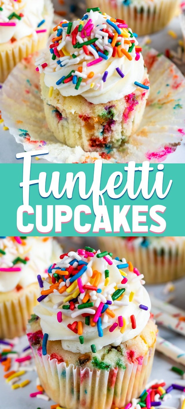 collage of funfetti cupcake photos