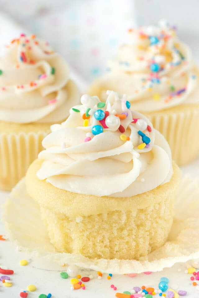 cupcake with vanilla frosting