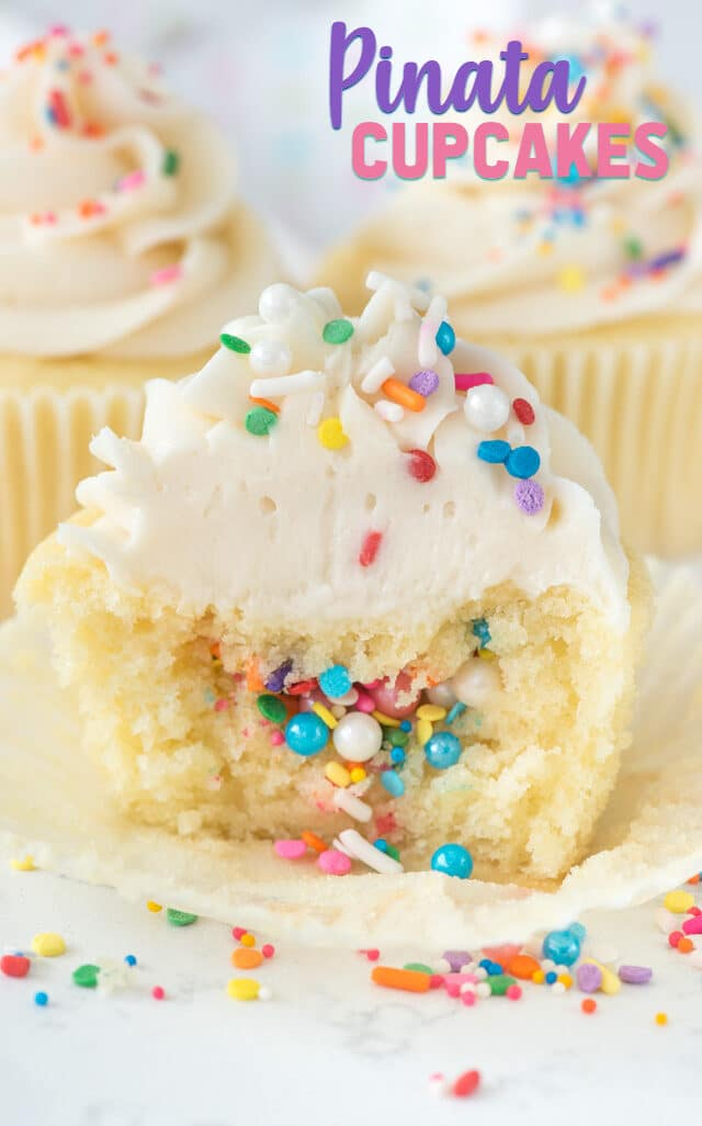 pinata cupcake with sprinkles inside