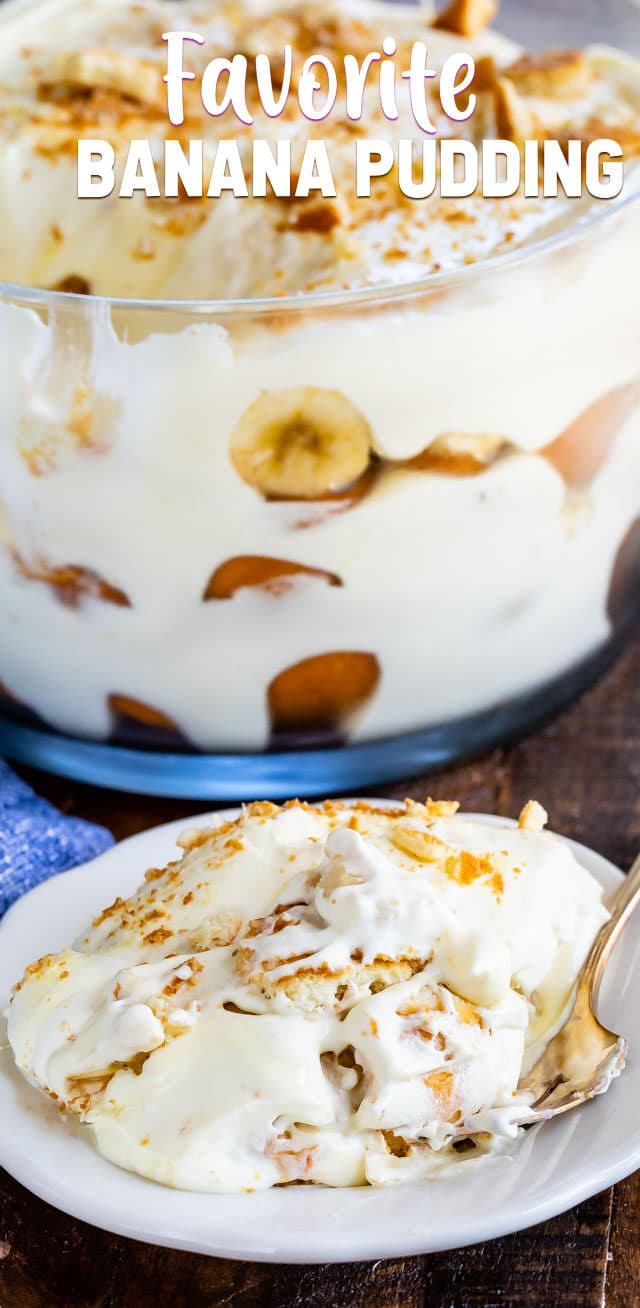 banana pudding recipe on plate