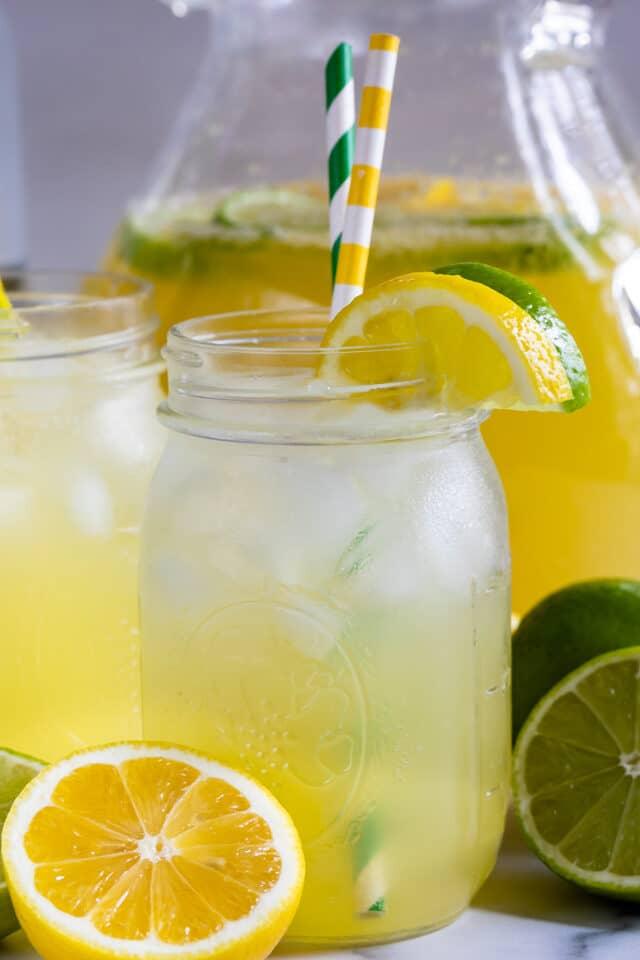 lemon lime vodka party punch in jar