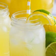 lemon lime vodka party punch in jar with straws