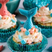 mermaid cupcake with sprinkles
