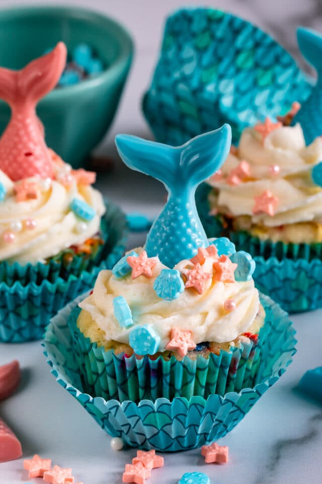 Easy Mermaid Cupcakes - Crazy for Crust