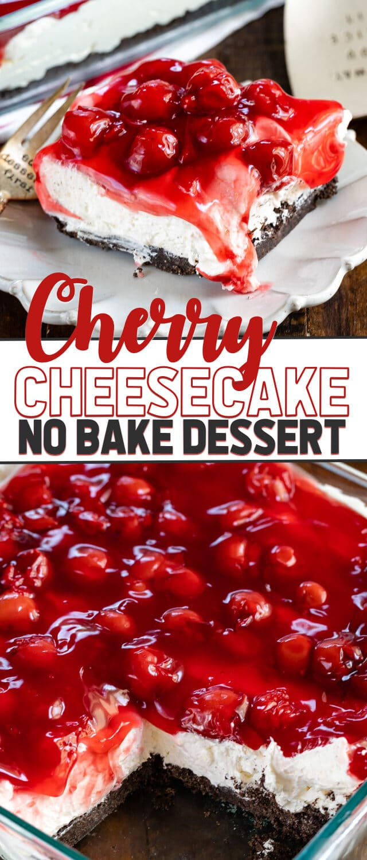 collage of no bake cherry cheesecake dessert photos