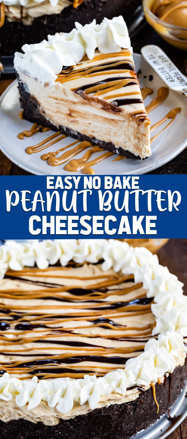 collage of no bake peanut butter cheesecake photos