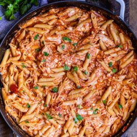 overhead shot of chicken penne pasta in skillet