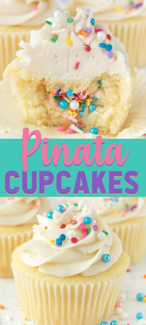 piñata cupcake with sprinkles inside collage photos