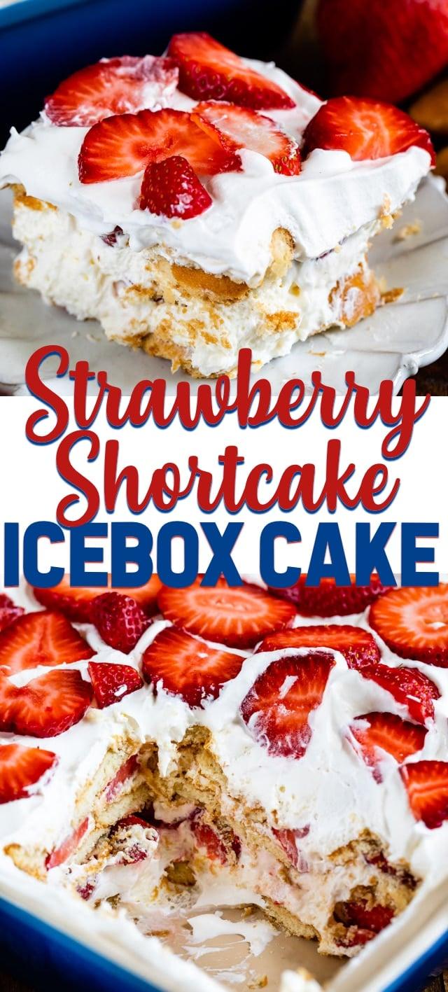 strawberry shortcake icebox cake collage photos