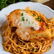 chicken parmesan on noodles