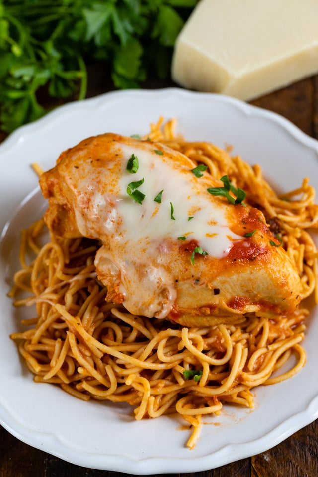 chicken parmesan on noodles