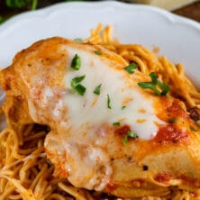 instant pot chicken parmesan on noodles