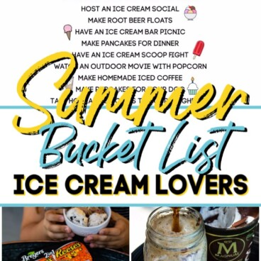 collage of ice cream photos and bucket list