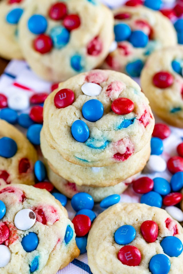 stack of 4th of July M&M cookies