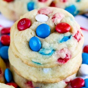 stack of M&M sugar cookies