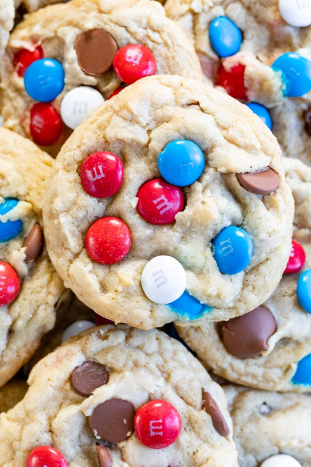 close up overhead shot of 4th of July chocolate chip cookie