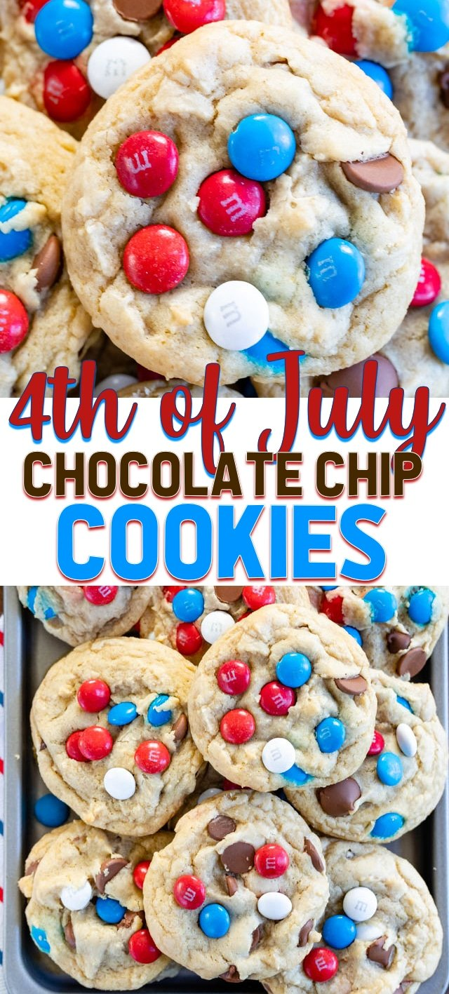collage of 4th of July chocolate chip cookie photos