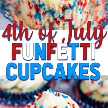 collage of fireworks Funfetti Cupcakes photos