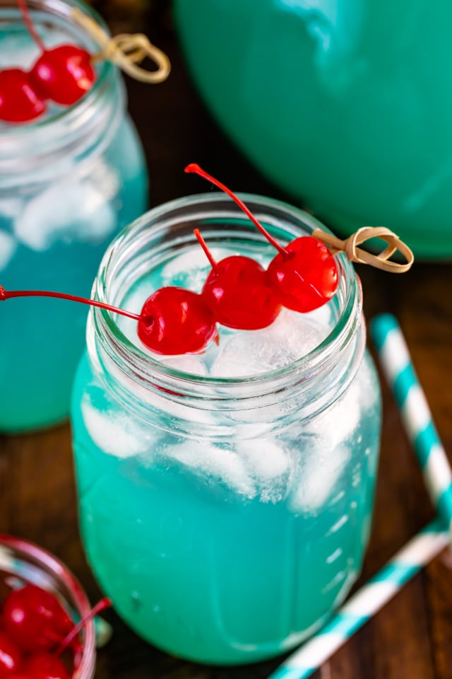 blue Hawaiian party punch in mason jar