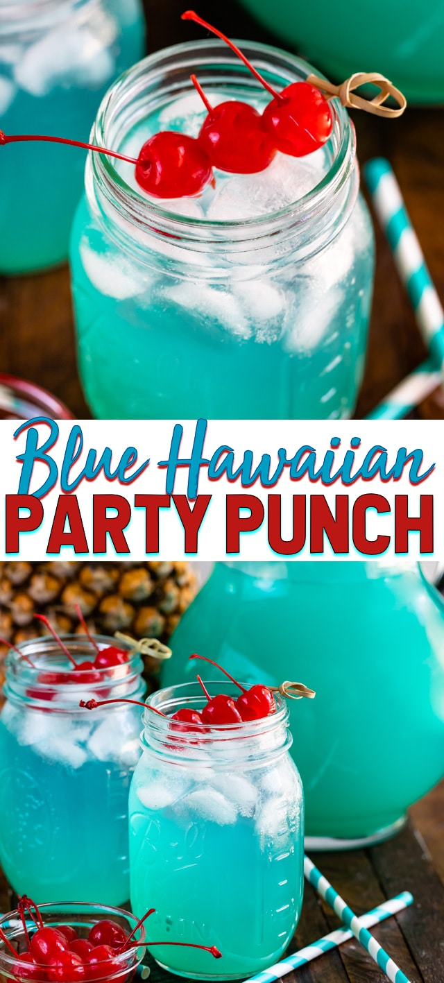 blue Hawaiian party punch in mason jar collage photos