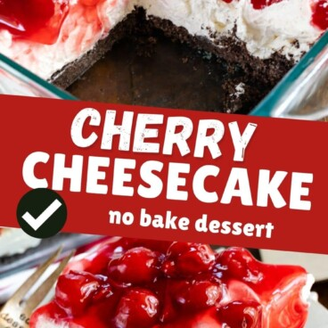 cherry cheesecake in pan on top and square on white plate on bottom