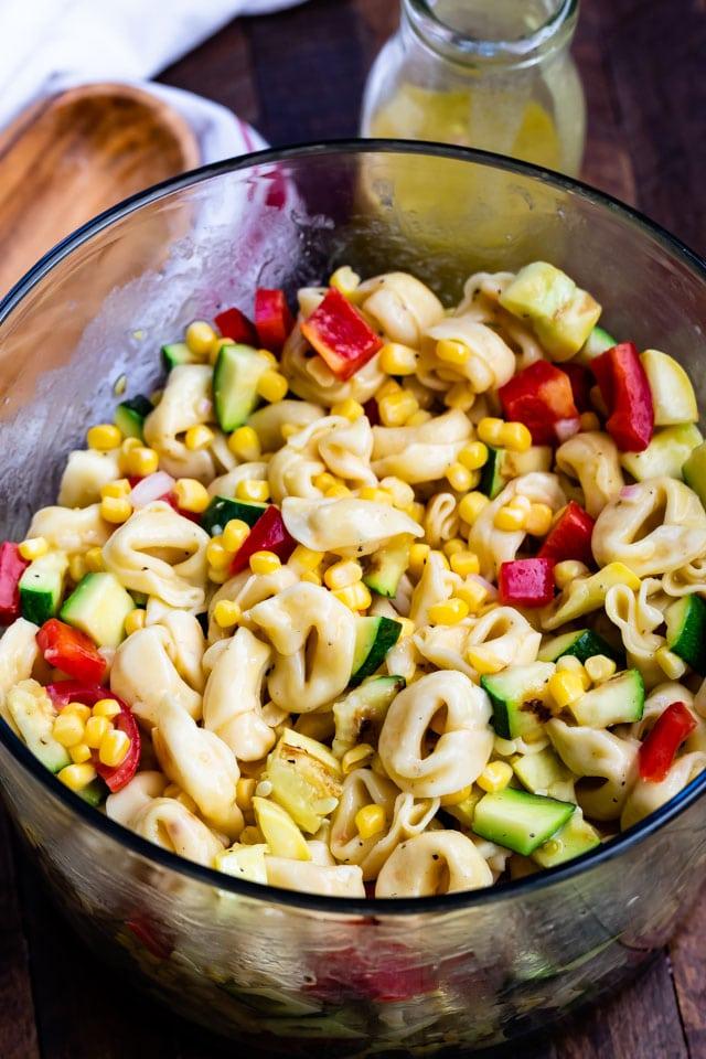 ingredients for corn pasta salad