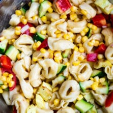 overhead shot of corn pasta salad