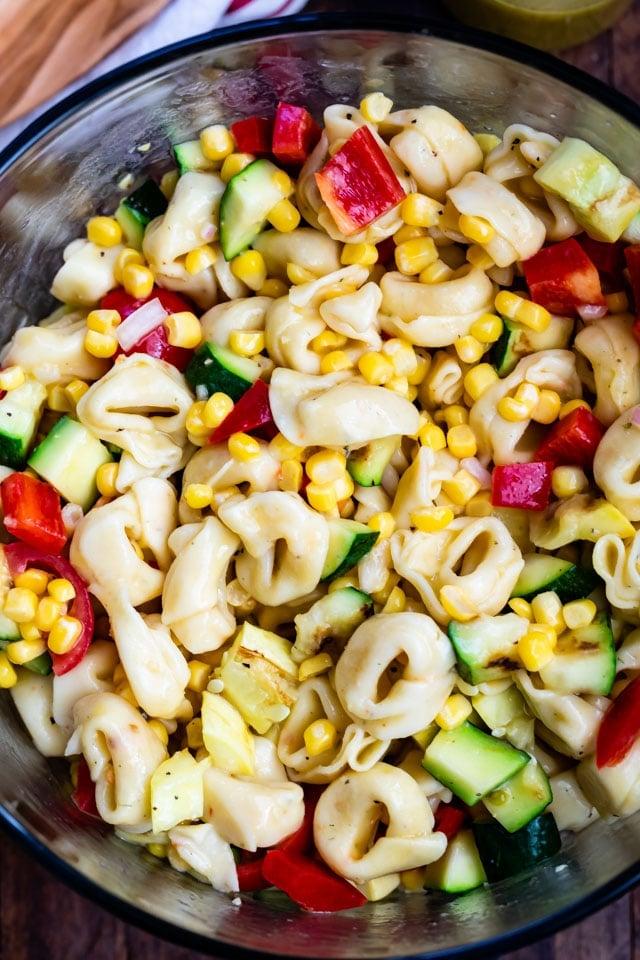 overhead shot of corn pasta salad