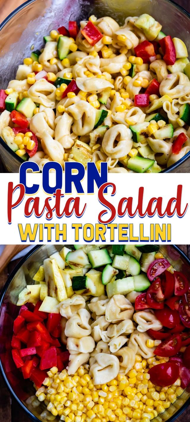 collage of corn pasta salad photos