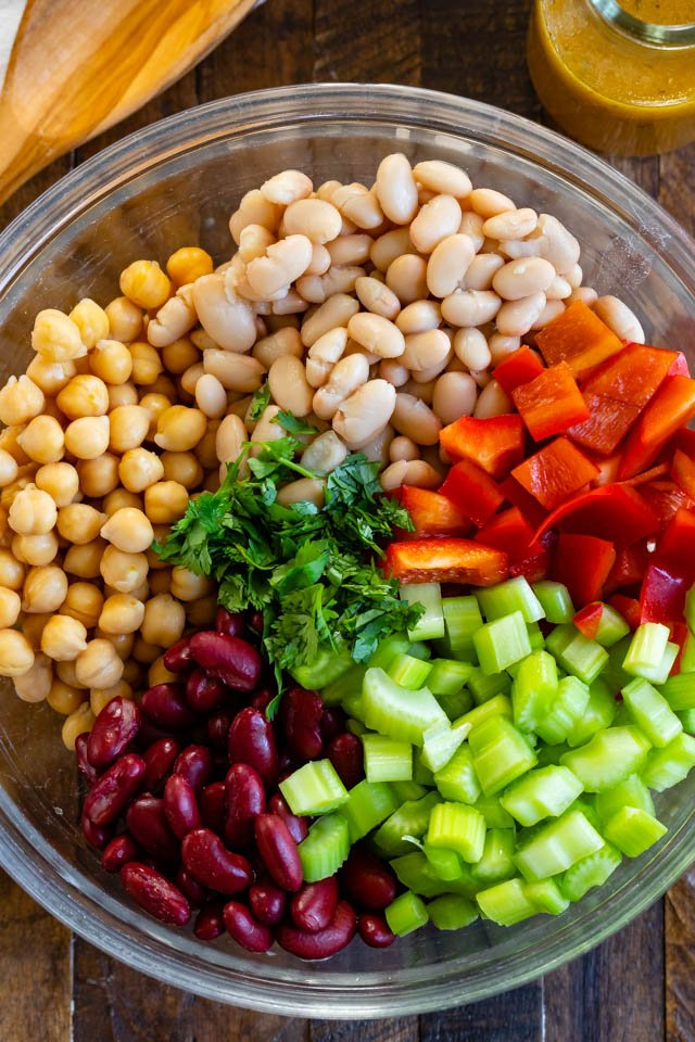 bean salad ingredients in bowl
