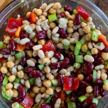 overhead bean salad in bowl