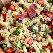 italian pasta salad in bowl