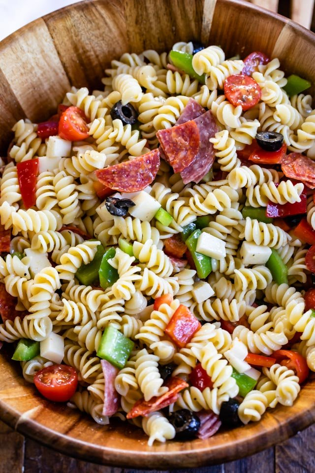 italian pasta salad in bowl