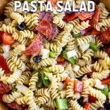 Italian pasta salad in salad bowl