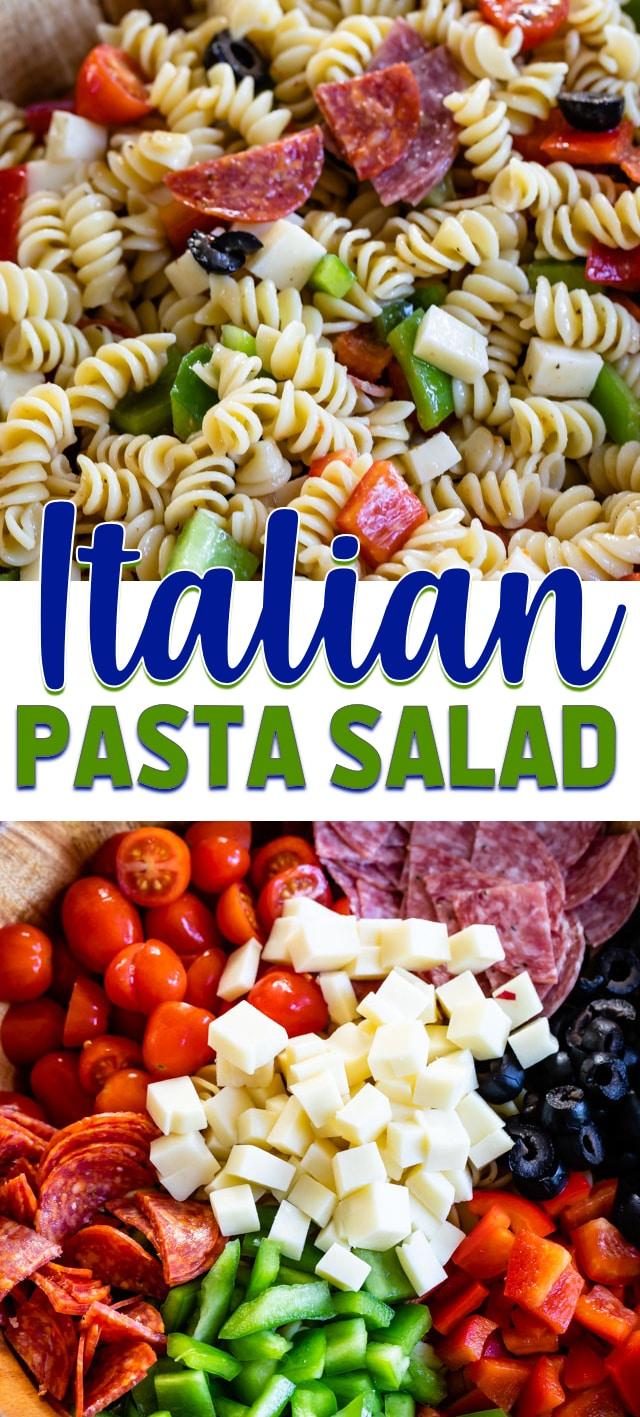 collage of Italian pasta salad photos