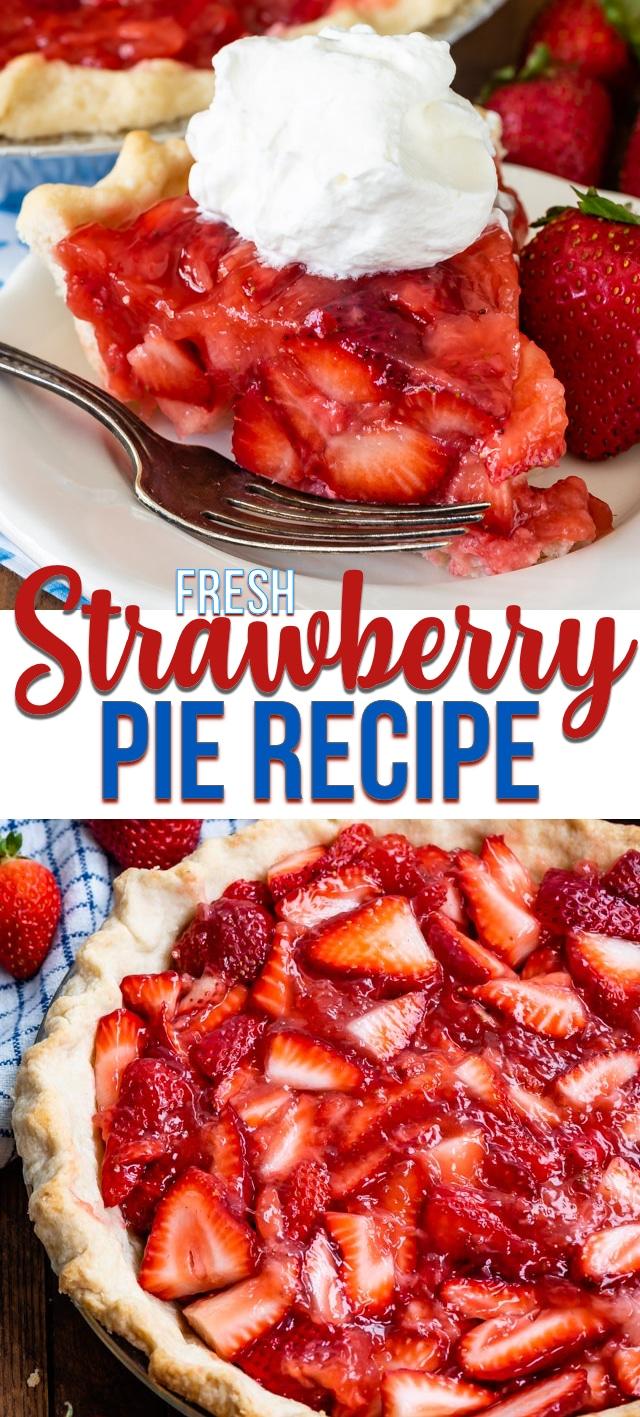 collage photo of fresh strawberry pie