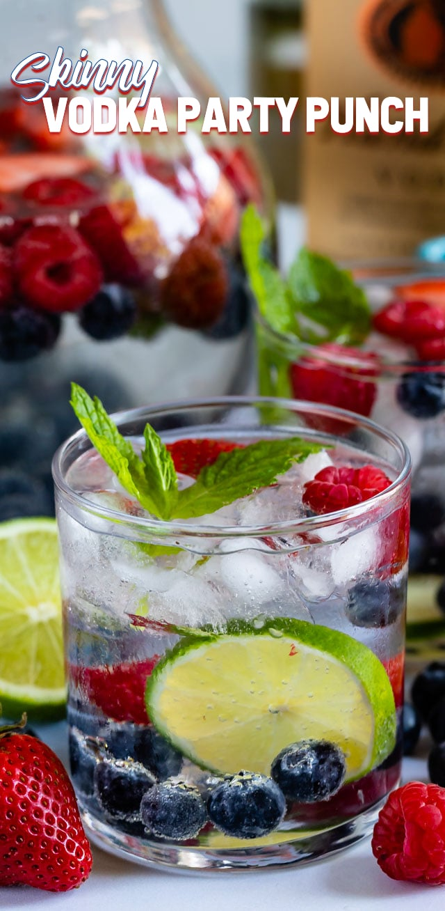 skinny vodka party punch in glass with fruit
